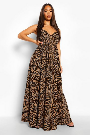 Brown Animal Print Tie Bust Cut Out Maxi Dress
