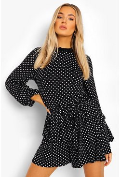 Black Polka Dot Belted Frill Playsuit