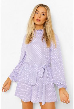 Lilac purple Polka Dot Belted Frill Romper