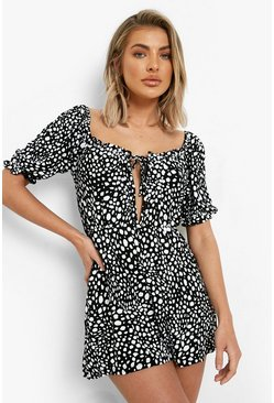 Black Animal Print Rouched Bust Playsuit
