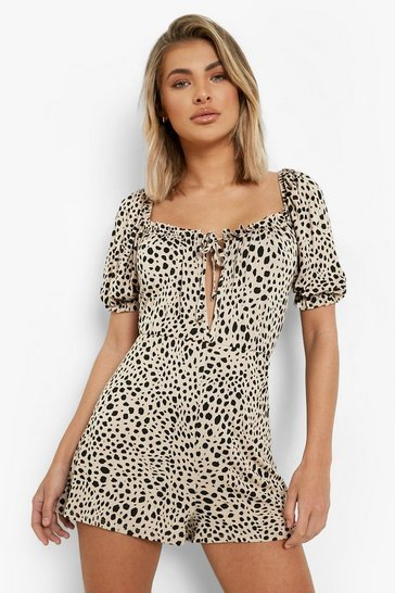 Stone beige Animal Print Rouched Bust Playsuit
