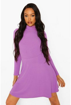 Purple Rib High Neck Skater Dress