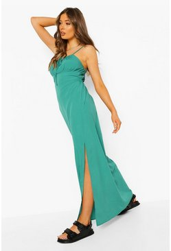 Green Strappy Tie Detail Maxi Dress