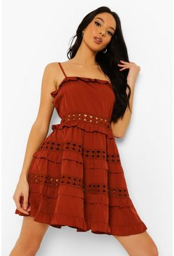 Strappy Crochet Detail Skater Dress , Rust naranja