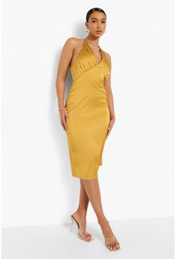 Satin Gathered Bust Halterneck Midi Dress, Mustard amarillo