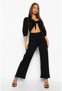 Black Tie Front Cut Out Wide Leg Jumpsuit