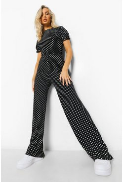 Black Printed Tie Back Culotte Jumpsuit