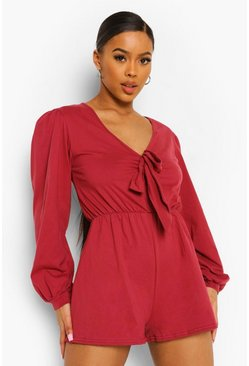 Berry red Plunge Balloon Sleeve Tie Front Playsuit