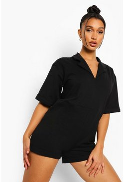Oversized Collar Detail Playsuit , Black negro