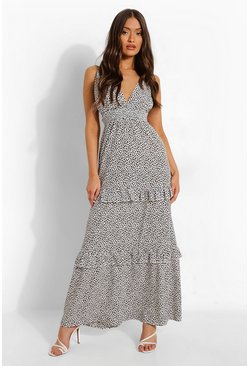 White Animal Plunge Tiered Maxi Dress