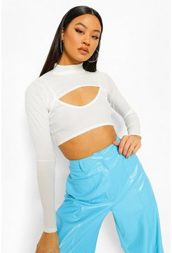 Cream vit White Two Piece Rib Crop Top