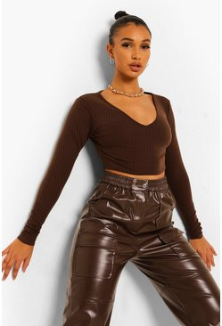 Chocolate brown Brown V Neck Rib Crop Top