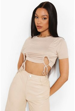 Stone beige Blue Ruched Front Cropped T Shirt