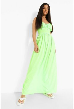 Lime green Strappy Tie Detail  Maxi Dress