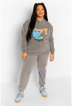 Charcoal grey Plus Official Energy Acid Wash Tracksuit