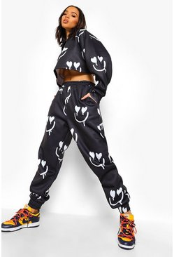 Black svart Heart Face Print Cropped Tracksuit