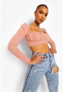 Nude Crepe Square Neck Long Sleeve Crop Top, Пудровый Розовый