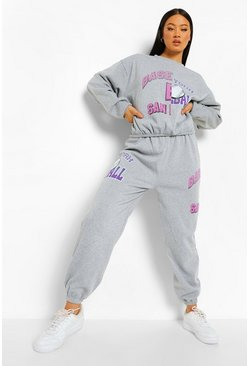 Grey marl grey Spliced Varity Print Tracksuit