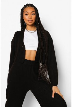 Black Knitted Button Cropped Cardi And Wide Leg Set