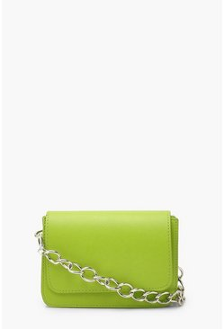 Lime green Chunky Chain Cross Body Bag