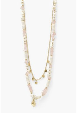 Gold metallic Shell Beaded Layer Necklace