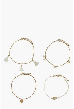 Gold metallic Cream Shell Tassels Anklet 4 Pack