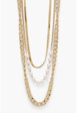 Gold metallic Flat And Chunky Chain Pearl Necklace 3 Pack