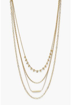 Gold metallic Mini Multi Chain Layered Necklace