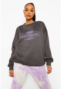 Charcoal grey Universal Print Oversized Sweatshirt