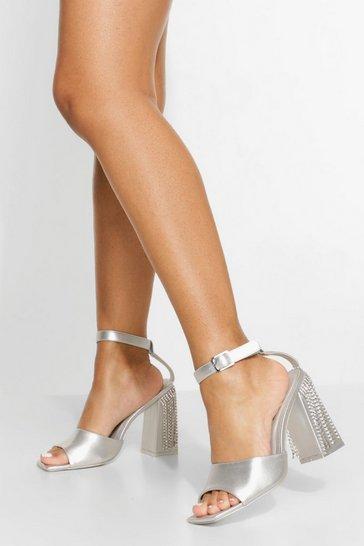 Silver Diamante Detail Ankle Strap Heel