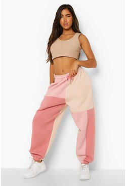 Rose Colour Block Oversized Jogger