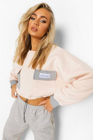 Grey Woman Colour Block Cropped Sweatshirt