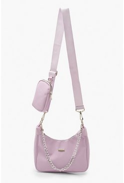 Lilac purple Nylon Multi Way Cross Body With Mini Bag