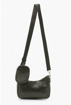 Black Dobby Pu Multi Way Cross Body With Mini Bag