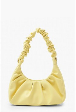 Lemon yellow Ruched Top Handle Underarm Bag