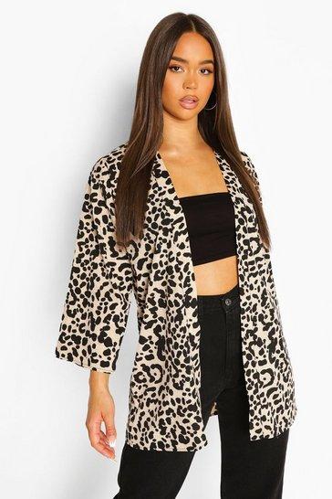 Tan brown Leopard Print Kimono