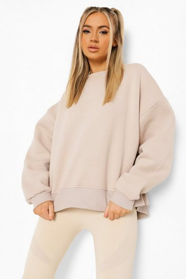 Stone beige Beige Oversized Official Split Hem Sweatshirt