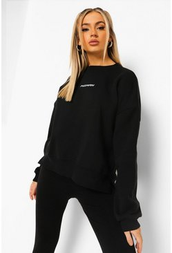Oversized Dip Hem Woman Sweat, Black schwarz