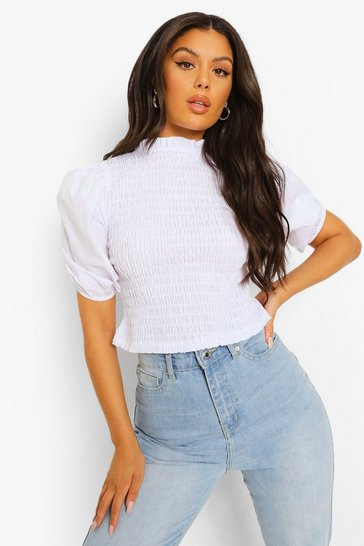 White Shirred Woven Top