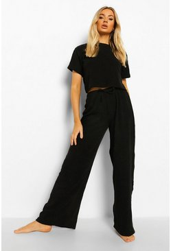 Black Towelling Wide Leg Jogger