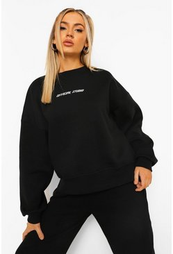 Black Oversized Dipped Hem Sweat