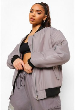 Grey Oversized Bomber Jacket