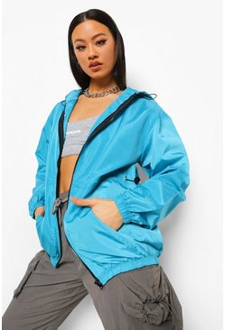 Aqua blue Hooded Windbreaker