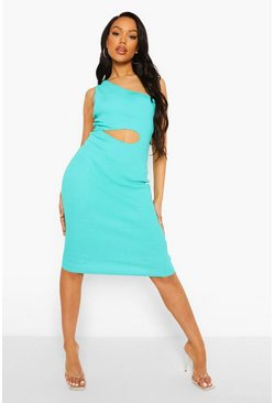 Aqua blue One Shoulder Rib Midi Dress