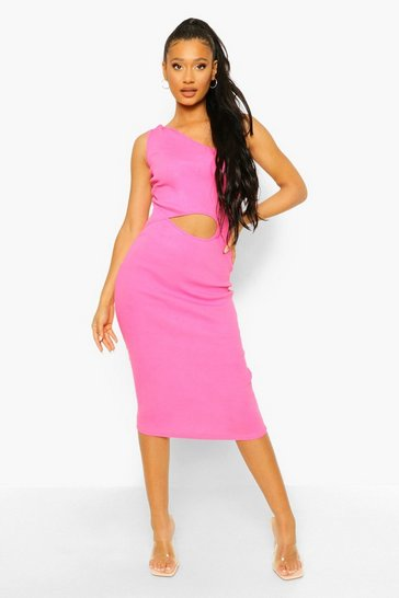 Pink One Shoulder Rib Midi Dress