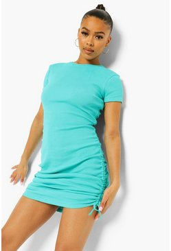 Aqua blue Ruched Detail Rib Dress