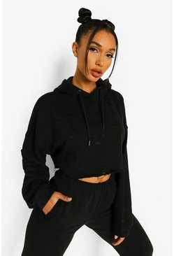 Black Distressed Cropped Hoodie