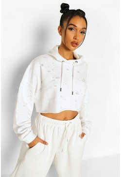 Ivory white Distressed Cropped Hoodie