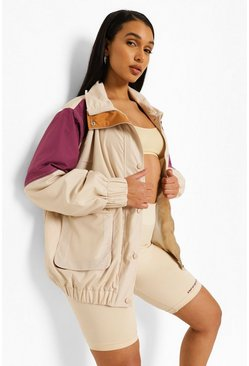 Panelled Colourblock Windbreaker, Stone beige