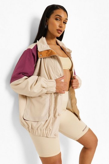 Stone beige Panelled Colourblock Windbreaker